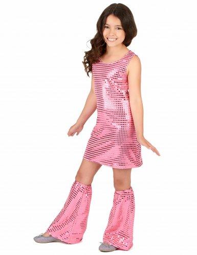 Roze disco kostuum met lovertjes voor meisjes-1