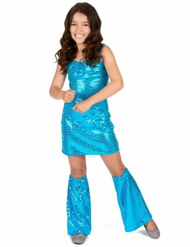 Turkooisblauwe disco jurk voor meisjes