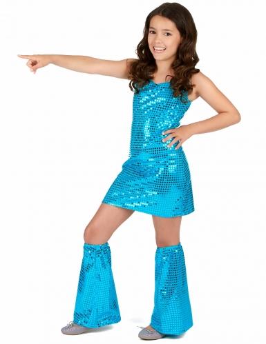 Turkooisblauwe disco jurk voor meisjes-1