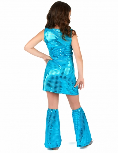 Turkooisblauwe disco jurk voor meisjes-2