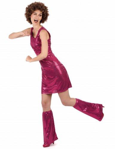 Fuchsia roze disco jurk voor dames-1