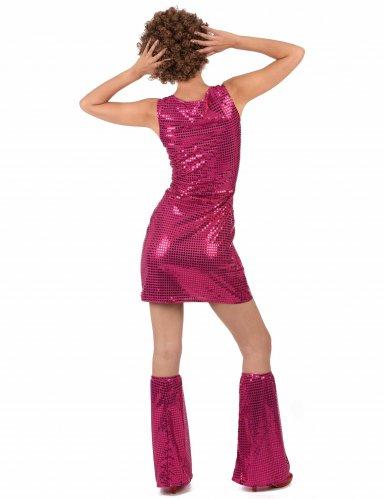 Fuchsia roze disco jurk voor dames-2