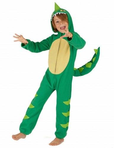 Groen en geel dino kostuum voor kinderen-1