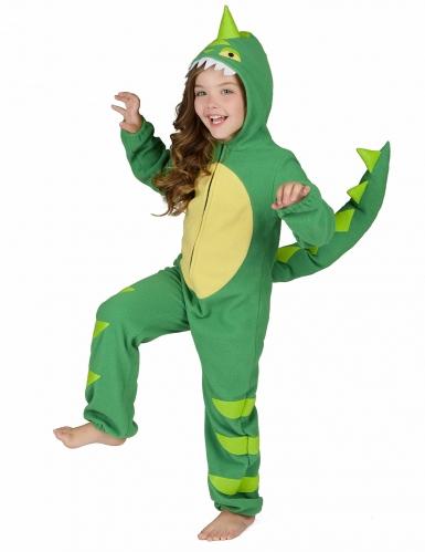 Groen en geel dino kostuum voor kinderen-3
