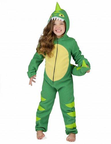 Groen en geel dino kostuum voor kinderen-5