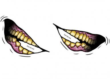 Grote grijns neptatoeage voor volwassenen-1