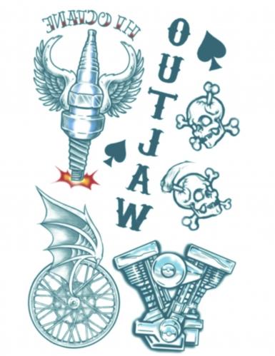 Nep biker tatoeages voor volwassenen