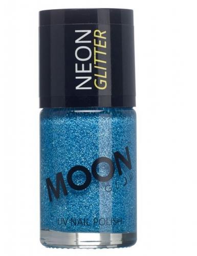 Blauwe Moonglow© nagellak met fosforescerende glitters