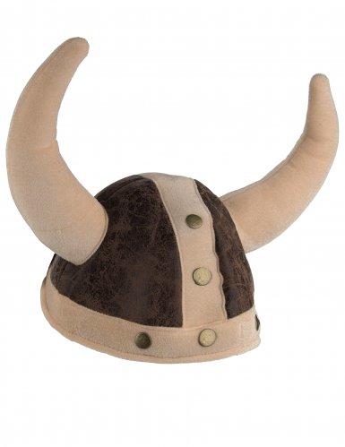 Bruine soepele viking helm voor volwassenen