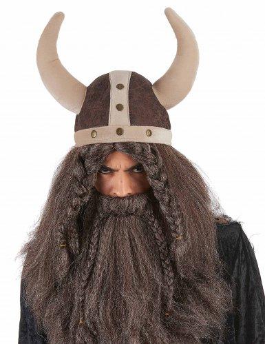 Bruine soepele viking helm voor volwassenen-1