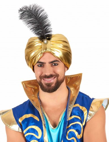 Goudkleurige sultan muts met veer voor volwassenen-1