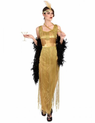 Goudkleurig charleston kostuum met franjes voor vrouwen