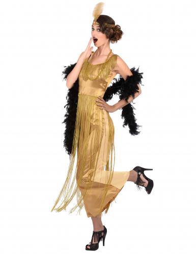 Goudkleurig charleston kostuum met franjes voor vrouwen-1