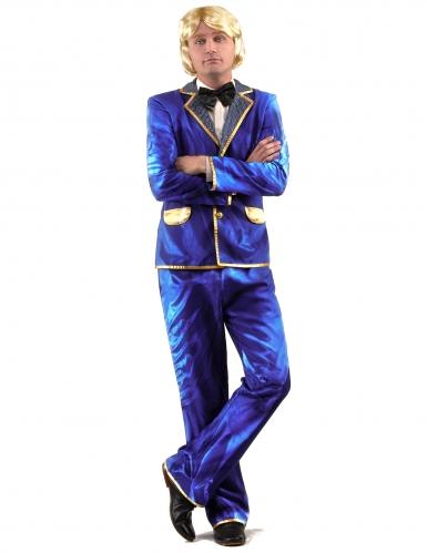 Glanzend blauw disco kostuum voor mannen-1