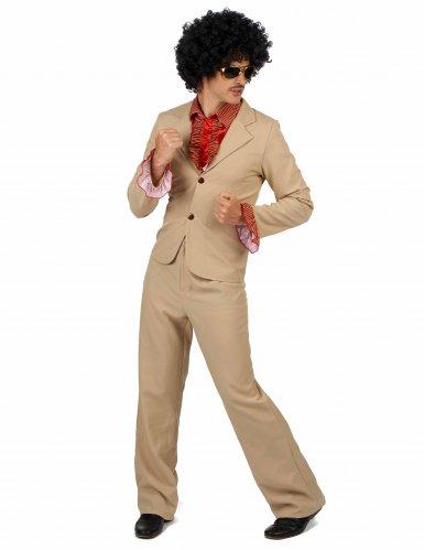 Beige disco kostuum met franjes voor mannen