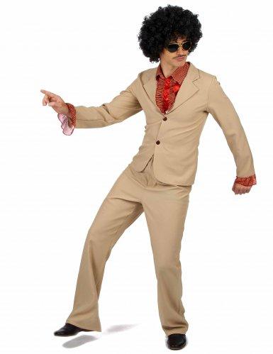 Beige disco kostuum met franjes voor mannen-1