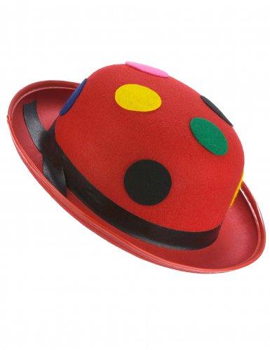 Rode clown bolhoed met stippen voor volwassenen