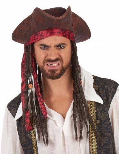 Bruine piratenhoed met pruik voor volwassenen-1