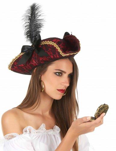 Rode piraten hoed met veer volwassenen-1