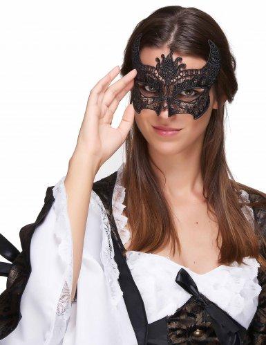 Zwart kanten masker met horentjes voor vrouwen