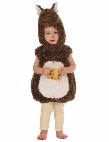 Bruin en wit pluche kangoeroe kostuum voor kinderen