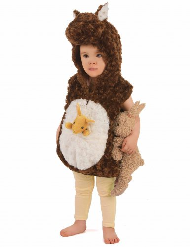 Bruin en wit pluche kangoeroe kostuum voor kinderen-1