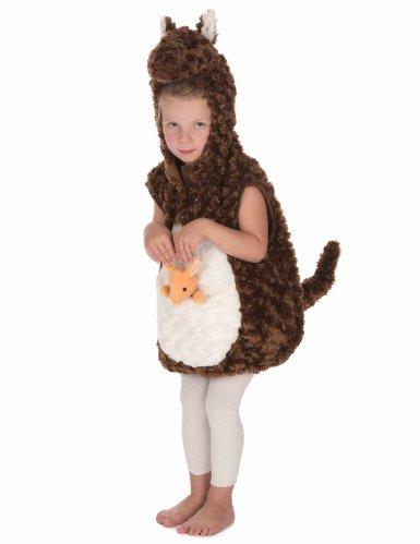 Bruin en wit pluche kangoeroe kostuum voor kinderen-2
