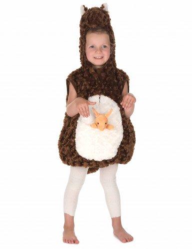 Bruin en wit pluche kangoeroe kostuum voor kinderen-4