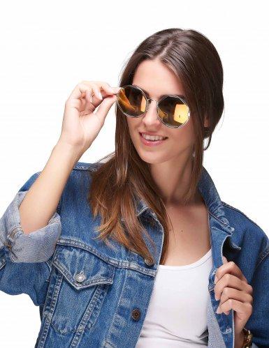 Ronde zilverkleurige retro bril voor volwassenen-1