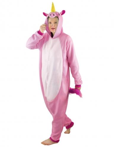 Roze eenhoorn onesie kostuum voor volwassenen