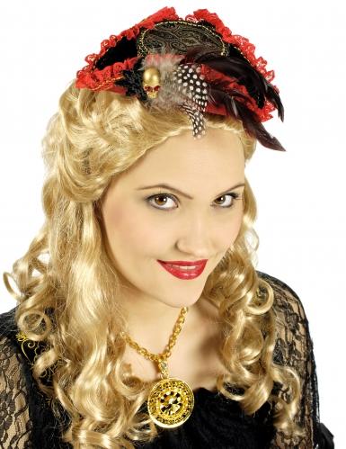 Rode en zwarte luxe piraten hoed voor vrouwen
