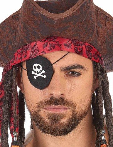 Piraten ooglapje met doodskop voor volwassenen-1