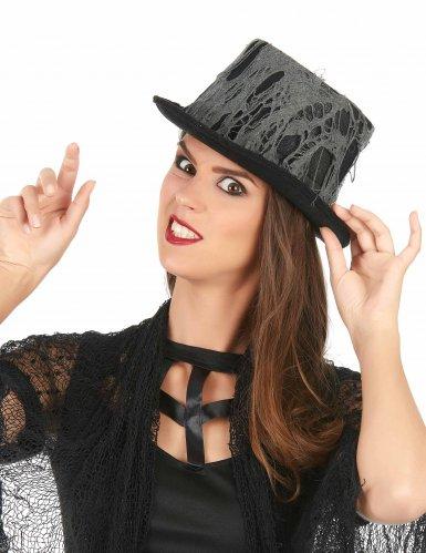 Zwarte spinnenweb hoge hoed voor volwassenen-1