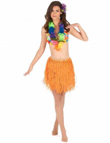 Korte oranje papieren Hawaii rok voor volwassenen