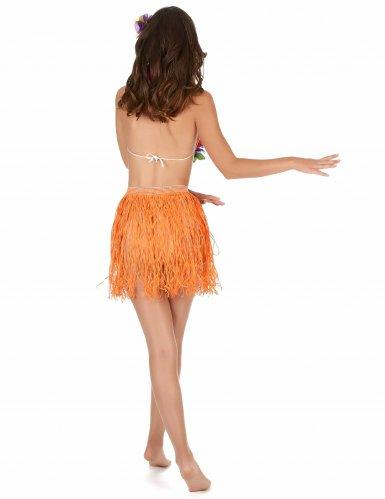Korte oranje papieren Hawaii rok voor volwassenen-1
