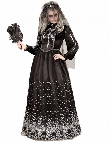 Zwart gothic skelet kostuum voor vrouwen