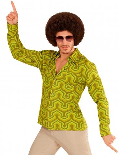 Groen groovy jaren 70 blouse voor mannen