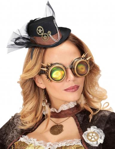 Zwarte Steampunk hoed met sluier-1
