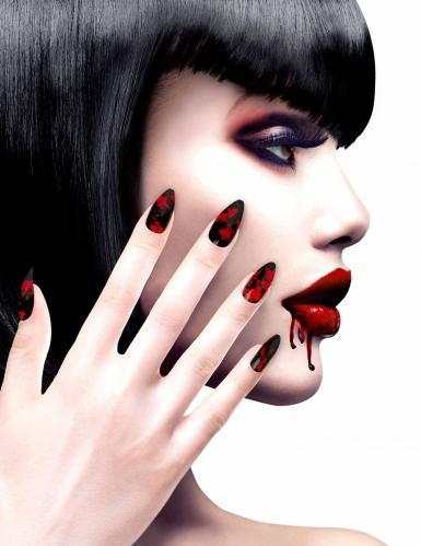 Neppe zwarte bloederige nagels voor vrouwen