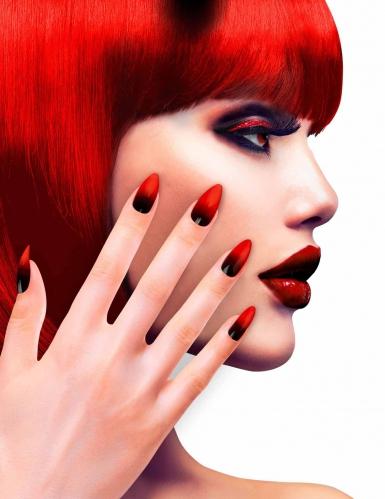 Zwarte en rode nep nagels voor vrouwen