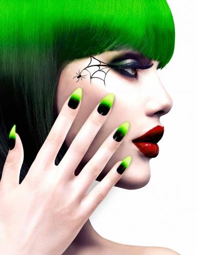 Zwarte en groene nep nagels voor volwassenen