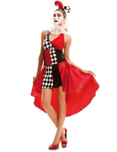 Sexy en kleurrijk harlekijn kostuum voor vrouwen