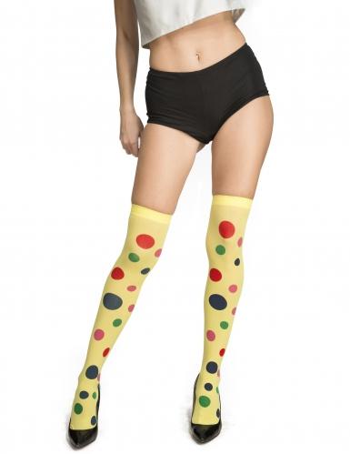 Gele clown kousen met stippen voor volwassenen