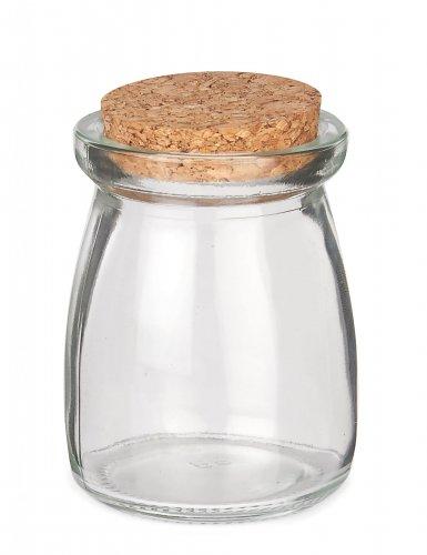 Klein glazen potje met kurk