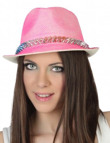 Roze borsalino hoed met spikes volwassenen