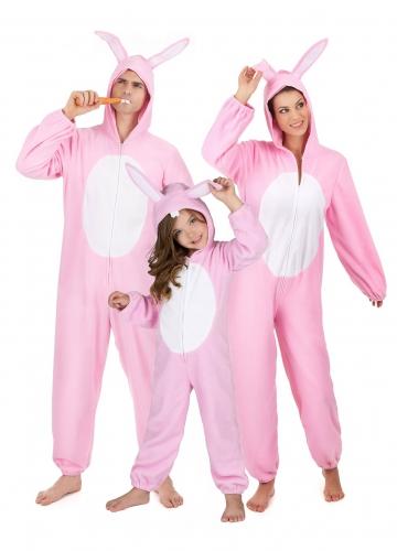 Roze konijn familie kostuum
