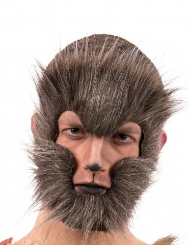 Bruin wolf masker voor volwassenen