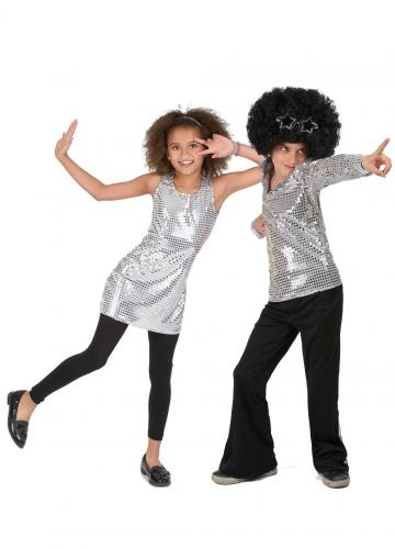 Schitterend zilverkleurig disco koppelkostuum voor kinderen
