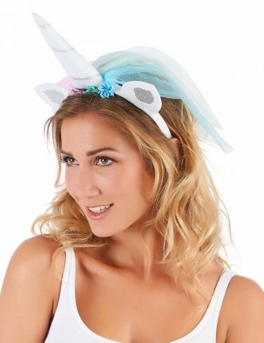 Eenhoorn haarband met veelkleurige sluier voor volwassenen