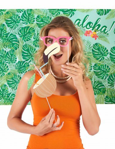 Hawaii photobooth set met 10 delen-2